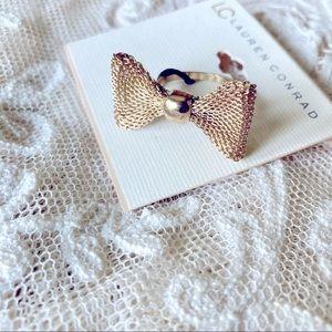 Lauren Conrad Gold Mesh Bow Ring New